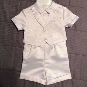 Macy's Baby Boy White Christening Outfit Suit